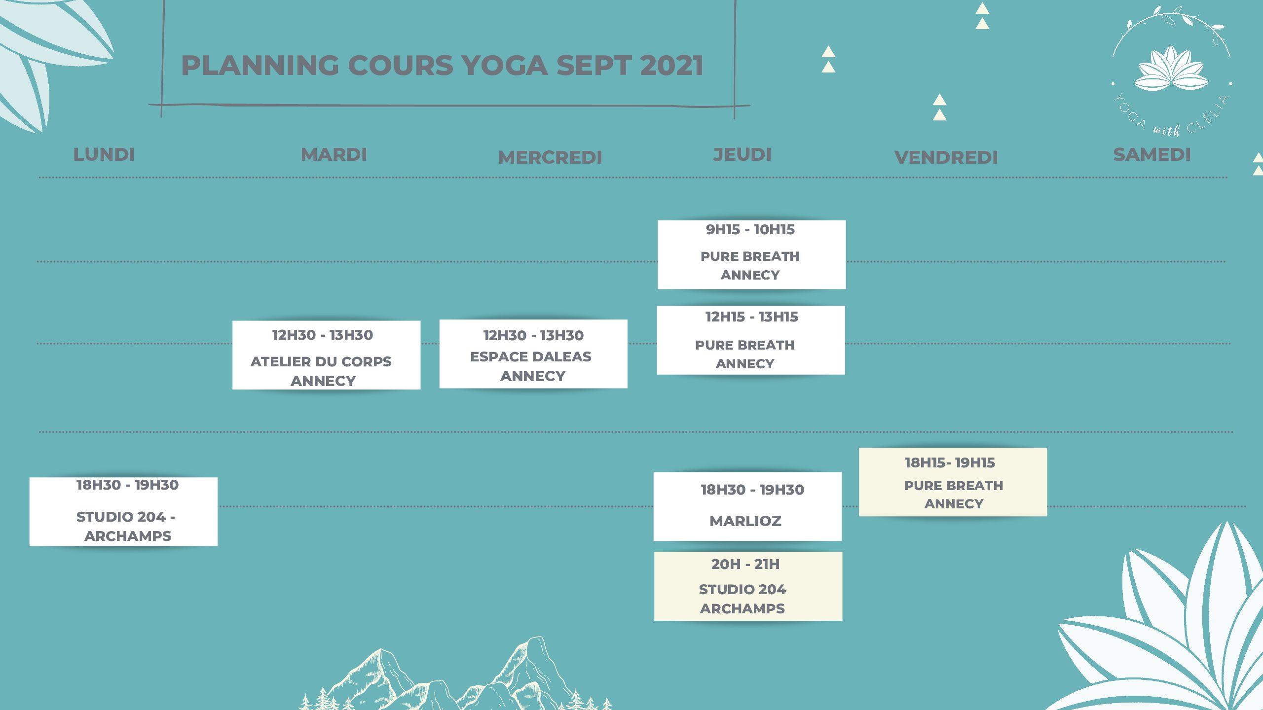 planning yoga vinyasa annecy